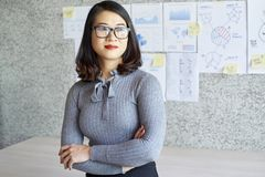Businesswoman standing at office royalty free stock photo