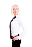 Businesswoman standing over white Stock Photography