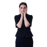 Businesswoman standing over white isolated background Stock Images