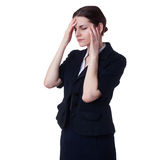 Businesswoman standing over white isolated background Royalty Free Stock Image