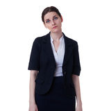 Businesswoman standing over white isolated background Stock Photo