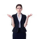Businesswoman standing over white isolated background Royalty Free Stock Photos