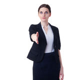Businesswoman standing over white isolated background Stock Photography
