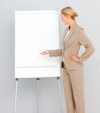Businesswoman Standing  pointing at a whiteboard Stock Images