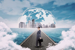 Businesswoman standing on the road Royalty Free Stock Photo