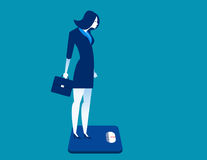 Businesswoman standing on the scale. Concept business illustrati Royalty Free Stock Photography