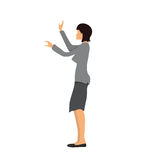 Businesswoman standing and showing or touching something. Vector illustration,  on white background. Woman in business clothes standing and showing or touching Stock Photos
