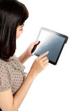 Businesswoman standing with touch pad Royalty Free Stock Images