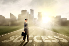 Businesswoman standing on the way of success Royalty Free Stock Photography