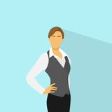 Businesswoman standing wear vest flat icon vector. Illustration Royalty Free Stock Photo
