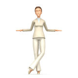 Businesswoman stands next to a blank place Royalty Free Stock Image