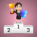 Businesswoman stands on pedestal holds cup Stock Photos