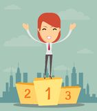 Businesswoman stands on pedestal Stock Photography