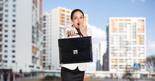 Businesswoman stands on the street Royalty Free Stock Image