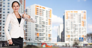 Businesswoman stands on the street Royalty Free Stock Photography