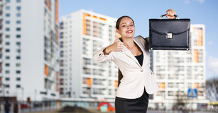 Businesswoman stands on the street Stock Photos