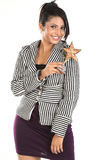 Businesswoman with star trophy