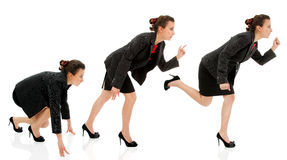 Businesswoman start run business career competition isolated. On white Stock Image