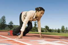 Businesswoman At Starting Blocks Stock Image