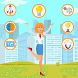 Businesswoman with Startup Idea Flat Illustration royalty free illustration
