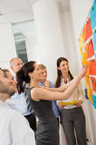 Businesswoman Sticking Labels On Whiteboard Stock Photos
