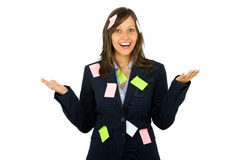 Businesswoman with sticky notes Stock Image