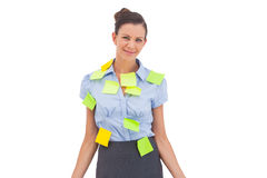 Businesswoman with sticky notes Stock Photo