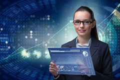 The businesswoman in stock exchange trading concept. Businesswoman in stock exchange trading concept Stock Images