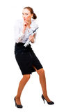 Businesswoman stole the secret files. Isolated over white background royalty free stock photos