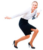 Businesswoman stole the secret files. Royalty Free Stock Images