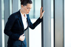 Businesswoman stomach ache Royalty Free Stock Photography