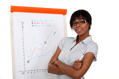 Businesswoman stood by flipchart Royalty Free Stock Images