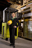 Businesswoman in storage warehouse Stock Photos