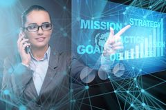 The businesswoman in strategic planning concept. Businesswoman in strategic planning concept Stock Photography