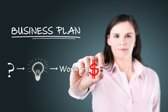 Businesswoman with a strategy plan. Royalty Free Stock Images