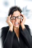 Businesswoman stress and headache royalty free stock image