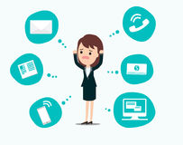 Businesswoman stress pressure, business mental issues, concept. Vector icons with pictogram computer,money,news,telephone call,e-mail. Pressure mental and Stock Images