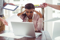 Businesswoman stressed out at work Stock Photography