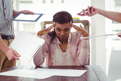 Businesswoman stressed out at work Stock Images