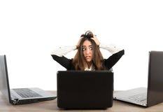 Businesswoman stressed at work stock photos