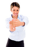 Businesswoman stretching her hand Royalty Free Stock Image