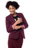 Businesswoman striking stylish pose, confidently Royalty Free Stock Image