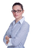 Businesswoman in striped shirt Royalty Free Stock Photos