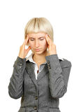 Businesswoman with strong headache Royalty Free Stock Photos