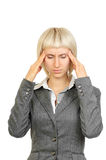 Businesswoman with strong headache Stock Photos
