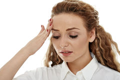 Businesswoman with a strong migraine Royalty Free Stock Photo