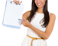 Businesswoman, student or secretary offering you to sign a blank document , Royalty Free Stock Photo