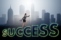 The businesswoman in success business concept Stock Image