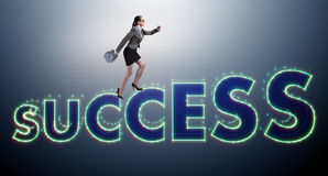 The businesswoman in success business concept Stock Images