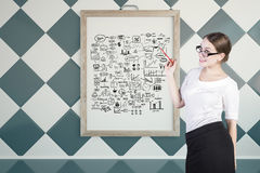 Businesswoman with success sketch Royalty Free Stock Photo